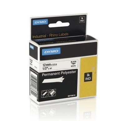 Nauha Rhino Pys. Polyesteri 12 mm Musta Valkoisella